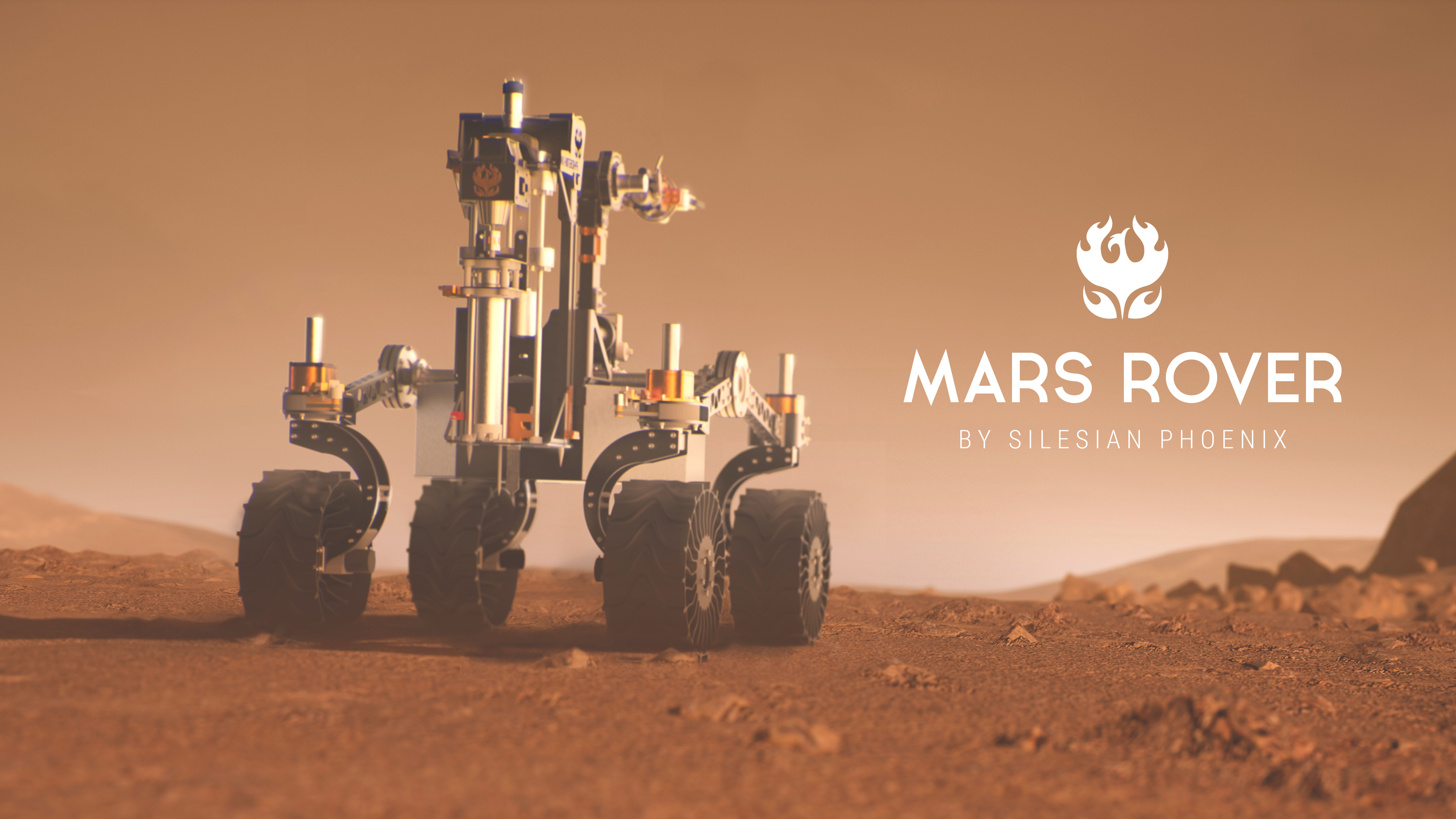 A Rover during a dust storm on the red planet. Curiosity Rover on Mars.